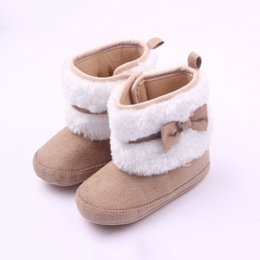 Wholesale Warm Furry Boots - Wholesale- Autumn Winter Toddler Girls Warm Fall Winter Girls Cute Bow Toddler shoes Soft FurryBaby Infant Soft Furry Baby Infant Boots