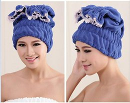 Wholesale Towel Hair Cap - Women Bathroom Super Absorbent Quick-drying Superfine fiber flower Bath Towel Hair Dry Bath Cap Salon Towel 38x20cm wholesale free shipping