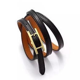 Wholesale H Buckle Bracelet - Jewelry wholesale H belt buckle, three layer leather bracelet, Kell bracelet, H letter leather, men and women Bracelet