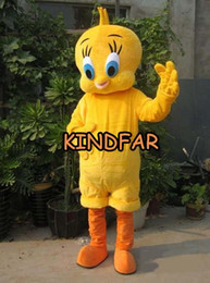 Wholesale Birds Carnival Costumes - Wholesale-Cute Yellow Canary tweety Bird Cartoon Character Mascot Costumes carnival party Halloween Outfits