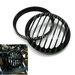Wholesale Front Grill Cover - black Motorcycle Motorbike Front Headlight Grill Cover for Harley Sportster XL 1200 XL 883 2004~2014 Billet Aluminum Lampshade