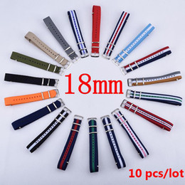 Wholesale 18mm Nylon Watch - Wholesale-Wholesale 10PCS Lot 18 mm Watchband MultiColor Nato Strap Watch Band 18mm Waterproof Watch Strap