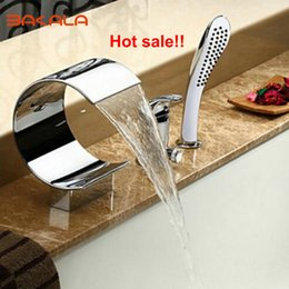 Wholesale Bathroom Waterfall Wall Spout - Wholesale- 2017 BAKALA Newly Spout Waterfall Bathroom 3 pcs Single Handle Faucet Mixer Faucet with Handheld Shower Head