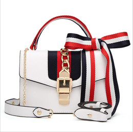 Wholesale Stripe Party Bags - Fashion Women Handbags Bow Decorate Shoulder Chain Bags Tote PU Leather Handbags College Style Party Bag