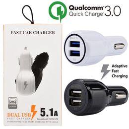 cabo de carregamento duplo Desconto Carregador de carro QC 3.0 carga rápida 3.1A Qualcomm Carregador de carro de Carregamento Rápido Dual USB Port Carregamento Rápido carregador de telefone + Cabo para pc telefone inteligente