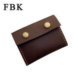 Wholesale Large Horse - Wholesale- FBK Crazy Horse Leather Craft Handmade Fashion Vintage Classic Large Capacity Coin Purse Change Wallet Business Card Holders