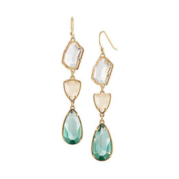 Wholesale Wholesale Chandeliers Crystals - Fashion gold plated crystal stone dangle earrings water drop geometry crystal gemstone earrings for women jewelry