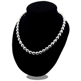 Wholesale 925 Buddha Wholesale - Silver Buddha Necklace 8 10MM African Solid Spacer Beads Necklace Collar Charms Natural Stone 30% 925 Sterling Silver Women Jewelry 18inch