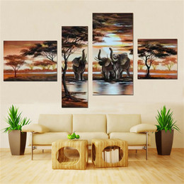 Wholesale elephant pictures - High quality combination African Elephant 100% Handmade Modern Landscape Oil Painting On Canvas Top Home Decoration