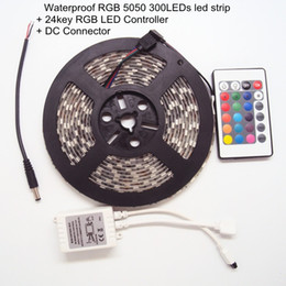 Wholesale Ip Controllers - 5 Meters LED Stips Colorful Changeable Waterproof IP 65 with IR Remote Controller DC12V Decoratoin LED Lighting