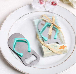 Wholesale Gifts Shoe Shaped - Creative Beach Flip-Flop Shoes Shape Opener Beer Bottle Opener With Gift Box Wedding Favor Wedding Gifts JF-58