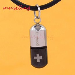Wholesale Stainless Pill - Stainless Steel Pendants Mini Travel Medical Pill Pendulum Storage Device Capsule Charms Health Amulet Fashion Jewelry
