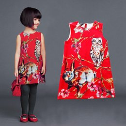 Wholesale Childrens Clothing Wholesale Quality - 2016 childrens owl and rabbit dresses kids casual clothes baby girls high quality clothing toddler fashion cotton dress QZ614