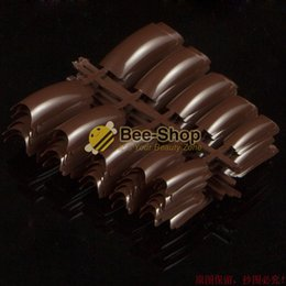 Wholesale Brown Acrylic Nails - Wholesale- 100 Beauty Decorative Acrylic Nail Tips Color Brown Plastic False Nails UV Gel Salon French Nail Art Tips Design For Finger NEW