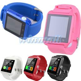 Wholesale Класс качества розовый синий U8 Смарт часы мульти языки высотомер наручные часы Smartwatch для iPhone IOS Android телефон с розничной коробке