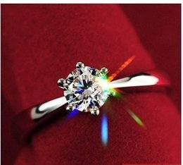 Wholesale Platinum Rings Sale - Fashion 925 sterling silver & platinum plated & zircon crystal anti-allergy Hot Sale ladies wedding rings jewelry Free Shipping