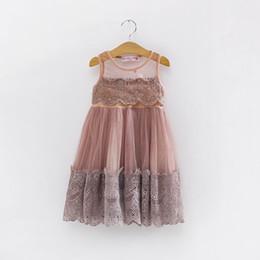 Wholesale Princess Gauze Girls Dress - 2016 Summer Girl Dress Lace Gauze Sleeveless Dress Girl Princess Party Sundress Children Clothing 3-7Y QZ211