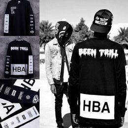 Wholesale Hood Air T Shirt - New Men's Hood By Air Long Sleeve Tee Shirts Man HBA Hip Hop t-shirts Been Trill Printed tshirts Men Camisetas Clothing