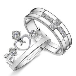 paare krone ringe Rabatt 1 Para Silber Überzogene Prince Princess Crown CZ Kristall Versprechen Ring Set Paar Ringe Für Frauen Männer Liebhaber Freies Verschiffen