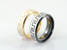 Wholesale Greek Rings - Greek Key Stainless Steel Rings jewellery for men or women trendy Fashion Jewelry anel rock punk, gold or black, Wholesale