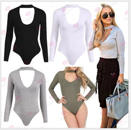 Wholesale Ladies Nylon Scarves - 2016 New Women Fitness Leotard One-Piece With Scarf Lady Solid Color Long Sleeve Jumpsuits Ladies Sexy Clothing Tops Onesies