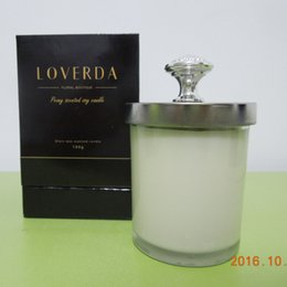 Wholesale Glass Scented Candle - 5% purfume oil Vanillar or Irum scented popular use as holiday gifts luxury scented glass jar candles with lid cover shipping free