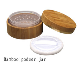 Wholesale Bamboo Cosmetic Packaging - Wholesale- Free shipping 30g bamboo powder jars high quality,30ml bamboo powder cosmetic container,refillable bottles package
