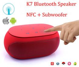 Wholesale Mini Loud Speaker Subwoofer Mp3 - DHL Free Shipping K7 Mini Bluetooth Speaker with NFC Fm Radio Double Subwoofer loud wireless Speakers