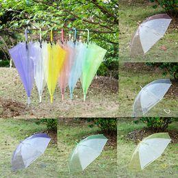 Wholesale Open Rain - Transparent Clear EVC Umbrella Dance Performance Long Handle Rainbow Umbrellas Beach Wedding Self-opening Umbrella For Men Women Kids Campin