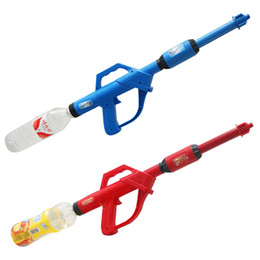 Wholesale Beverage Bottles Wholesale - High Quality Long Pump Plastic Water Gun Airsoft Pistol Kids Beverage Bottle Squirt Gun Summer Beach Toys Random Color VE0080