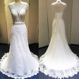 Wholesale Inexpensive Pink Wedding Dresses - Inexpensive Wedding Dresses Made In China 2016 Mermaid Lace Appliques Bridal Gown Open Back Lace Up Tulle Sweep Train Cheap Vestido De Novia