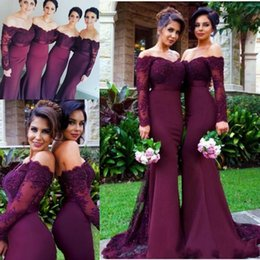 Wholesale Mermaid Royal Train Wedding Dresses - 2017 Burgundy Long Sleeves Mermaid Bridesmaid Dresses Lace Appliques Off the Shoulder Maid of Honor Gowns Custom Made Wedding Guest Dresses