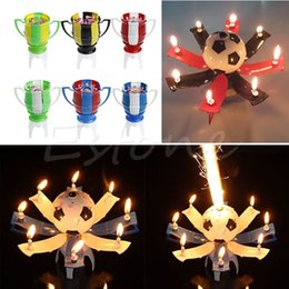 Wholesale Birthday Cake Shaped Candle - 2016 NEW Musical Football Cup Flame Happy Birthday Cake Party Gift Lights Decoration 8 Candles Lamp Surprise