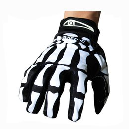 Wholesale Ghost Race - Wholesale-Mountain Bike Full Finger Gloves Black Skidproof Ghost Claw Finger Gloves Ghost Skull Motorcycle Riding Off-Road Gloves M-L-XL