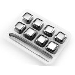 Пластиковые кубики льда онлайн-Набор из 8 нержавеющей стали виски камни куб ледник с пластиковой коробке для хранения щипцы напиток охлаждения многоразовые виски кубики льда H029