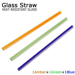 Wholesale Glasses For Drinking - GLASS drinking straw 3pcs pre box amber blue green 8mm dia 20cm length olor Drinking Glass Straws For Kitchen Barware