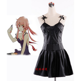 Wholesale Gasai Yuno Cosplay - Anime Future Diary Mirai Nikki Yuno Gasai Black Dress Halloween Cosplay Costume