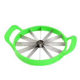 Wholesale Green Cutter Vegetable - Creative Watermelon Slicer Stainless Steel Fruit Vegetable Cutter Safe With Plastic Handle Multi Function Kitchen Tool Durable Green 10rr B