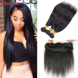 Wholesale Indian Virgin Frontal Closures - Body Wave Straight Hair Weaves Bundles with 13x4 Lace Frontal Closure Human Hair Extensions Brazilian Peruvian Indian Malaysian Virgin Hair