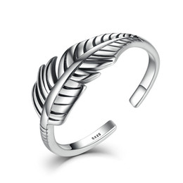 Wholesale 925 Silver Feather Ring - 925 Sterling Silver Do The Old Feather Open Rings Women Ancient Style Prevent Allergy Sterling-silver-jewelry VSR045