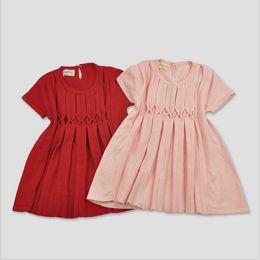 Wholesale Christmas Pink Cardigan - Girls Dress Christmas Kids Clothing 2016 New Autumn Winter Knitting Dress Fashion Short Sleeve Sweater Dress + Cardigan ER-516