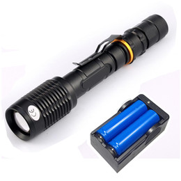 Wholesale Super Bright Cree Led Torch - Super Bright NEW Waterproof 6000lumen CREE XML T6 LED Flashlight Torch Tactical 5 Mode Zoomable Flashlight Use 2x18650