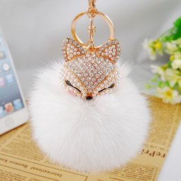 Wholesale Stainless Ball Chains - 18Color Cute Bling Rhinestone Fox Real Rabbit Fur Ball Fluffy Keychain Car Key Chain Ring Pendant For Bag Charm Hotsale b233