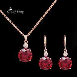 2019 diseños de oro rubí Nuevo diseño pendientes de gota de cristal para las mujeres accesorios de boda chapado en oro ronda CZ Diamond Ruby sistemas de la joyería envío gratis diseños de oro rubí baratos
