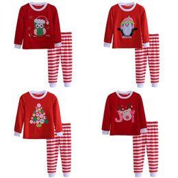 3a73c4e794ec0 пижамы для младенца санта-клауса Скидка Детские Младенческой Рождество Лося  Полосой Пижамы Наборы Дети Рождественские