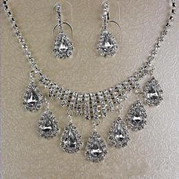 Wholesale Crystal Necklace Settings - 2016 Elegant Jewelry Sets Wedding Bridal Prom Rhinestone Crystal Jewelry Necklace Earring Set Bridal Accessories Hot Sale 15003A