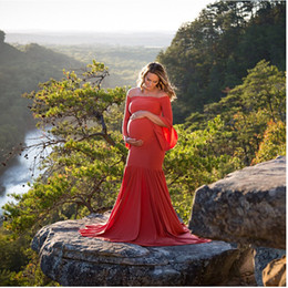 Wholesale Pregnant Women Maxi - Pregnant Women Maxi Trailing Dress Maternity Photography Fancy Props Dresses Pregnancy Photo Shooting Gown Dresses