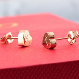 Wholesale Jewelry Brand Factory - Brand 316L Titanium steel stud earring with Super Cute Lucky heart for women wedding gift Jewelry factory price Free shipping PS6620
