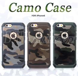 Wholesale Wholesale Camouflage Iphone Cover - Army Camo Case Luxury Camouflage Hybird Armor Shockproof Impact 2 in 1 PC & TPU Cover For iPhone 6 7 Plus Galaxy S7 Edge