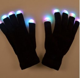 Wholesale Kids Color Glove - Flash Color changing LED Glove Rave light led finger light gloves light up glove For Party favor music concert
